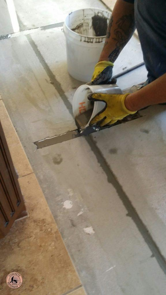 Concrete Repairman™ Interior Concrete Floor Slab Epoxy Stitching After